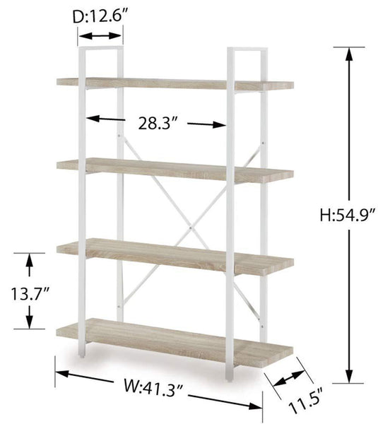 Discover the homissue 4 shelf modern style bookshelf light oak shelves and white metal frame open bookcases furniture for home office 54 9 inch height
