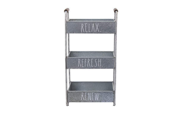 Try rae dunn 3 tier desk organizer galvanized steel caddy with wood accents tabletop or floor standing design chic and stylish metal storage bin for office home or kitchen