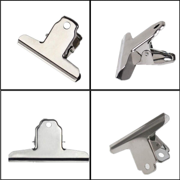 COMOK 12Pcs 2 inch Wide Bulldog Clip, Silver Stainless Steel File Money Binder Clips Clamps/Metal Food Bag Paper Clips for Drawing Board, Painting, Pictures, Photos and Home Kitchen Office Supplies