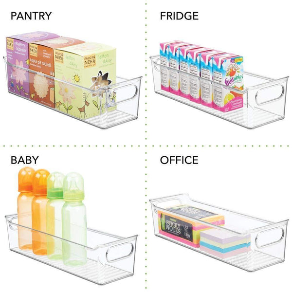 Exclusive mdesign slim plastic home office storage bin container desk and drawer organizer tote with handles holds gel pens erasers tape pens pencils highlighters markers 14 long 4 pack clear