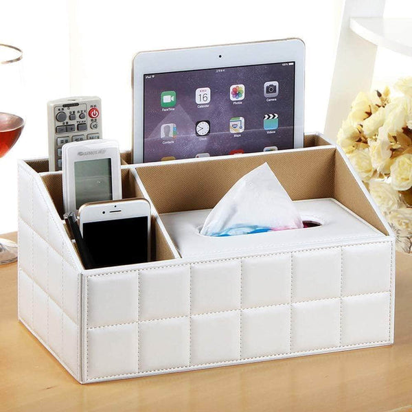 Amazon best ladder multifunctional tissue box cover pu leather pen pencil remote control holder office desk organizer white soft sheep