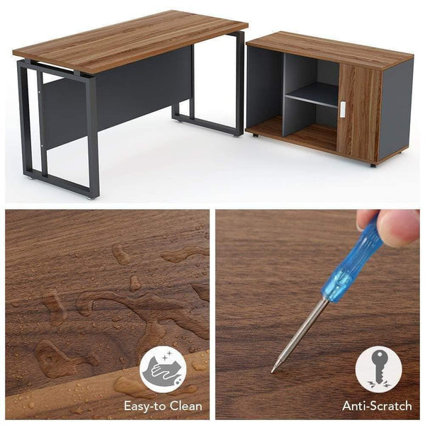 Amazon best little tree l shaped computer desk 55 executive desk business furniture with 39 file cabinet storage mobile printer filing stand for office dark walnut