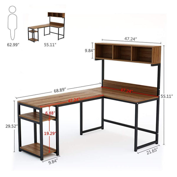 Exclusive tribesigns l shaped desk with hutch 68 corner computer desk gaming table workstation with storage bookshelf for home office dark walnut