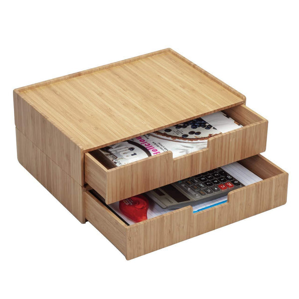 Best seller  large bamboo drawer 2 pk monitor stand stackable storage solution for office products pens pencils scissors notepads business cards and more