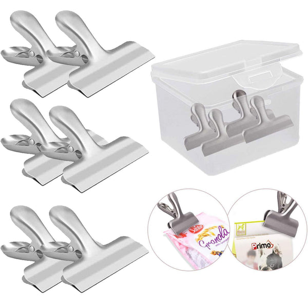 "VEHHE Chip Bag Clips Food Clips 10 PCS Chip Clips 3"" Wide Stainless Steel Heavy Duty Food Bag Sealing Clips All-Purpose Air Tight Seal Grip Clips for Office School Home W/Reusable Storage Box"