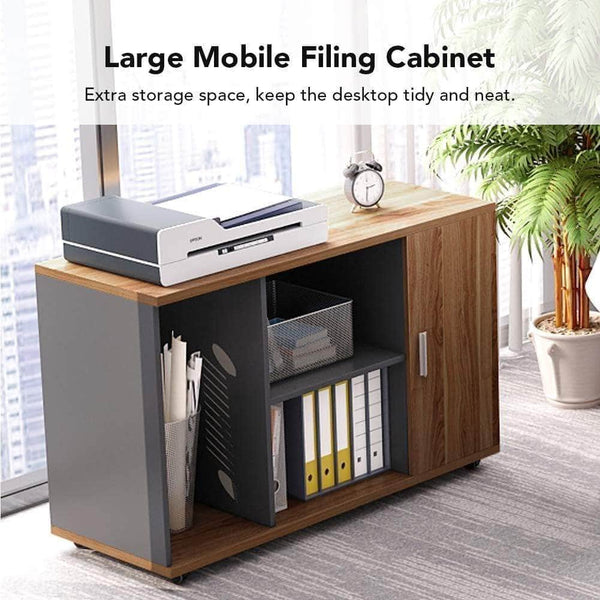 Budget little tree l shaped computer desk 55 executive desk business furniture with 39 file cabinet storage mobile printer filing stand for office dark walnut