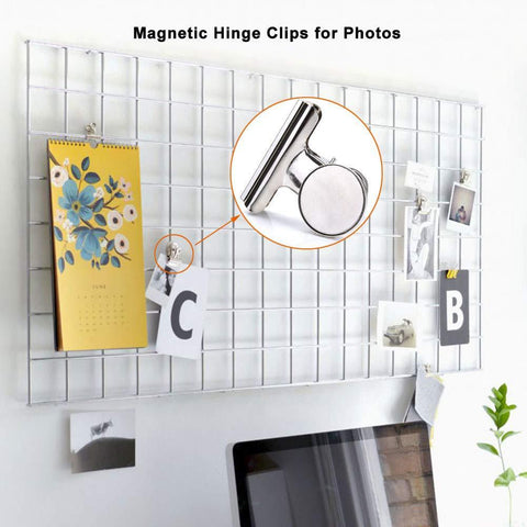 Super Strong Refrigerator Magnetic Clips for Fridge, Coideal Silver Metal Medium Heavy-duty Magnetic Bulldog Hook Clips with Neodymium Magnet for Calendar, Photo, Home Kitchen Deco (2 inch, 6 Pack)