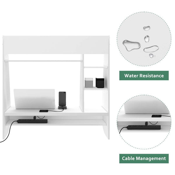 Order now wlive wall mounted desk with storage shelves computer table for home office stable and durable floating kitchen dining desk white