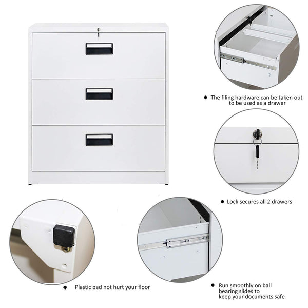 Best merax lateral file cabinet 2 drawer locking filing cabinet 3 drawers metal organizer with heavy duty hanging file frame for legal business files office home storage