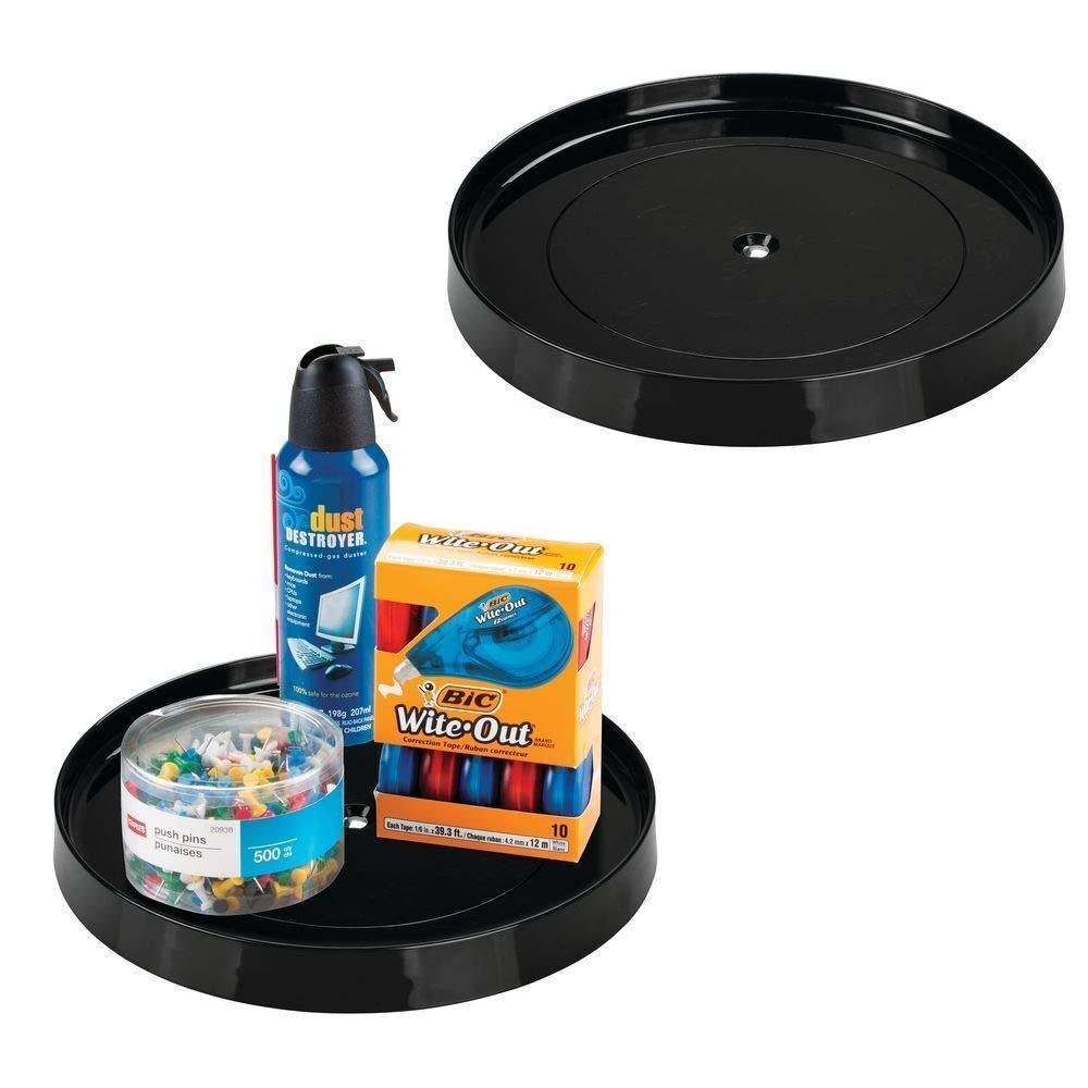 "mDesign Plastic Spinning Lazy Susan Turntable Tray Container for Desktop, Drawer, Closet - Rotating Organizer for Home Office Supplies, Erasers, Colored Pencils - 11.25"" Round, 2 Pack - Black"