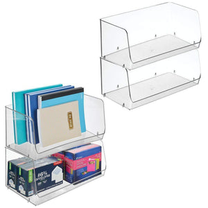 Products mdesign stackable plastic storage organizer bin basket for desk book shelf filing cabinet container for office supplies sticky notes pens pencils 15 wide 4 pack clear