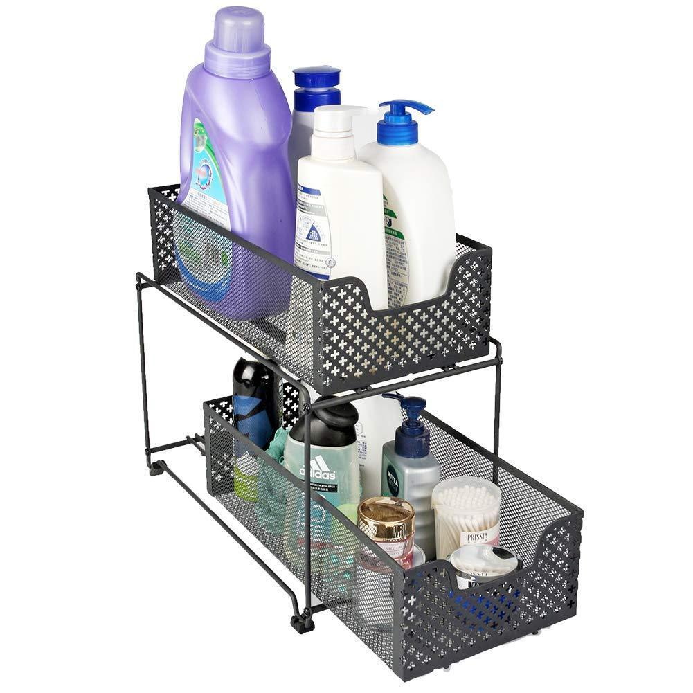 Home 2 tier organizer baskets with mesh sliding drawers ideal cabinet countertop pantry under the sink and desktop organizer for bathroom kitchen office