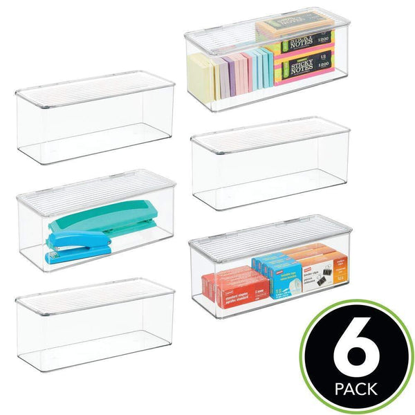 Cheap mdesign long plastic stackable home office supplies storage organizer box with attached hinged lid holder bin for note pads gel pens staples dry erase markers tape 8 pack clear