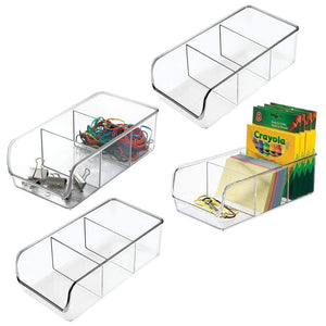 mDesign Divided Plastic Home Office Desk Drawer Organizer Storage Bin for Cabinets, Closets, Drawers, Desktops, Tables, Workspaces - Holds Pens, Pencils, Erasers, Markers - 3 Sections, 4 Pack - Clear