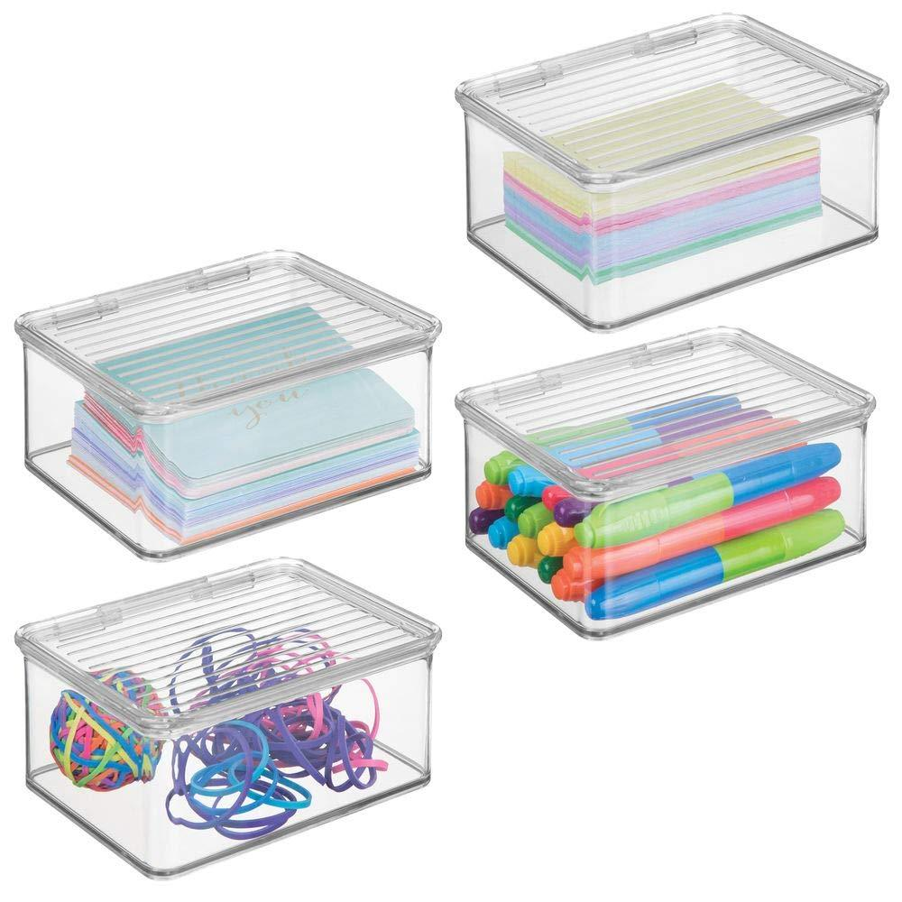 mDesign Small Mini Plastic Stackable Organizer Box