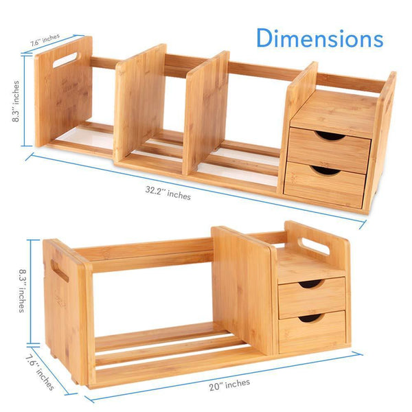 Featured bamboo wood expandable desk organizer desktop tabletop organic wooden filing organization bookshelf w storage drawer for book home office file paper supplies cookbook serenelife sldcab180