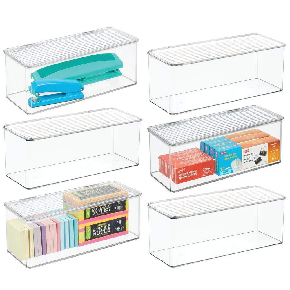 Best seller  mdesign long plastic stackable home office supplies storage organizer box with attached hinged lid holder bin for note pads gel pens staples dry erase markers tape 8 pack clear