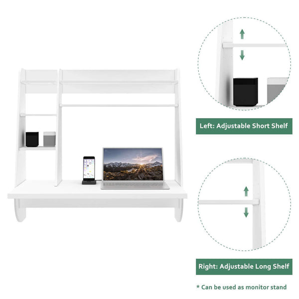 Organize with wlive wall mounted desk with storage shelves computer table for home office stable and durable floating kitchen dining desk white