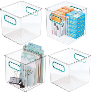 Best mdesign plastic home office storage organizer container with handles for cabinets drawers desks workspace bpa free for pens pencils highlighters notebooks 6 cube 4 pack clear blue
