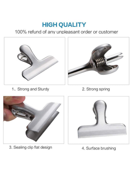 Tangser Chip Clips, Bag Clips for Food or Coffee, Paper Clips, Stainless Steel Heavy-Duty, All-Purpose Air Tight Seal Good Grip Clips Cubicle Hooks for Office School Kitchen Usage Set of 10 (3 Inch)