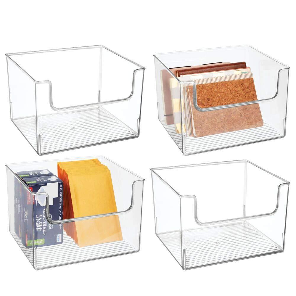 Save mdesign plastic open front home office storage bin container desk organizer tote for storing gel pens erasers tape pens pencils highlighters markers 12 wide 4 pack clear