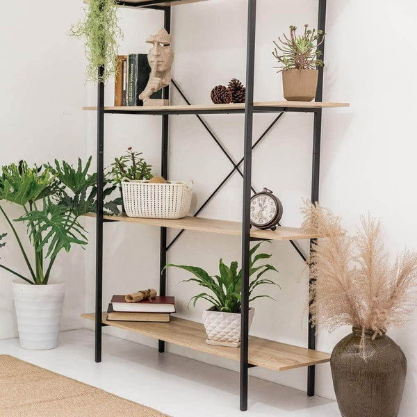 Purchase c hopetree open bookcase bookshelf large storage ladder shelf vintage industrial plant display stand rack home office furniture black metal frame 4 tier open