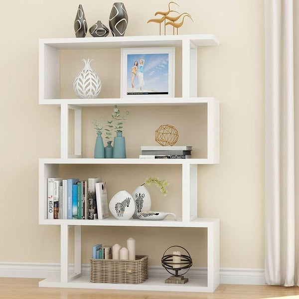 Featured tribesigns 4 shelf bookcase modern bookshelf 4 tier display shelf storage organizer for living room home office bedroom white