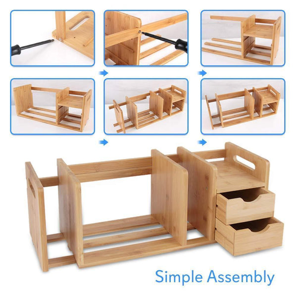 Home bamboo wood expandable desk organizer desktop tabletop organic wooden filing organization bookshelf w storage drawer for book home office file paper supplies cookbook serenelife sldcab180