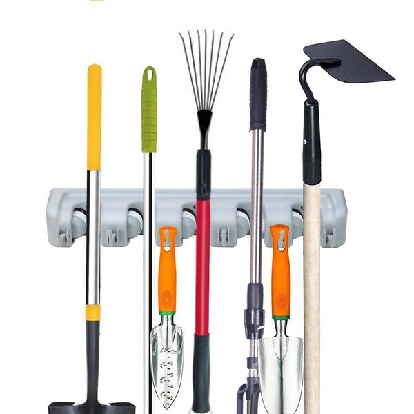 Buy mop broom holder garden tools wall mounted commercial organizer saving space storage rack for kitchen garden and garage laundry offices5 position with 6 hooks