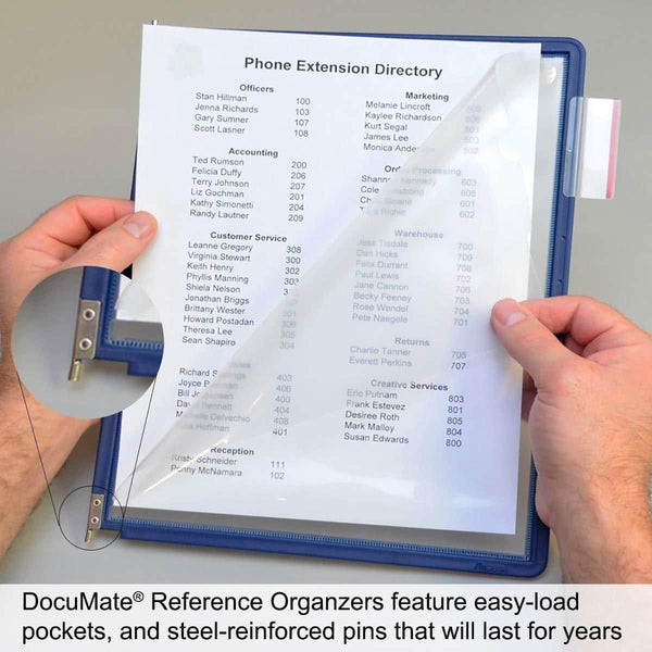 Try ultimate office documate 10 pocket desk reference organizer with black easy load pockets steel reinforced pins and free bonus panel