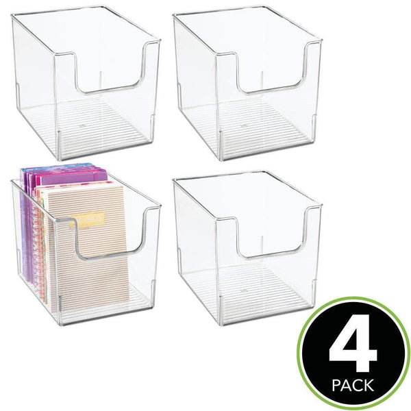 Amazon best mdesign plastic open front home office storage bin container desk organizer tote for storing gel pens erasers tape pens pencils highlighters markers 8 wide 4 pack clear