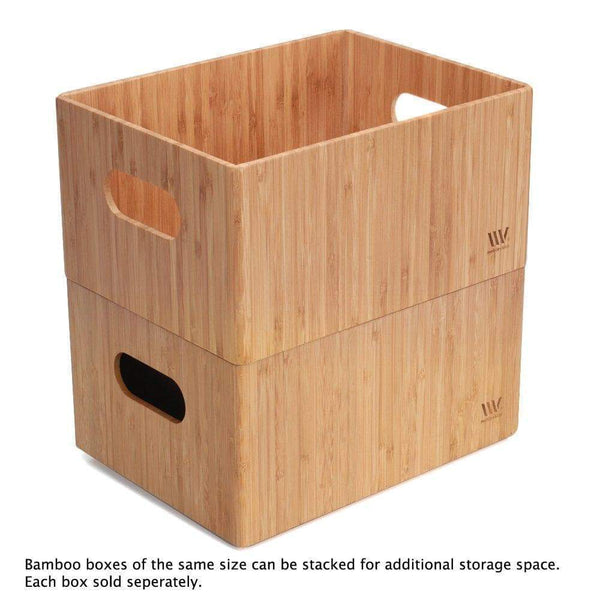 Cheap mobilevision bamboo storage box 14x11x 6 5 durable bin w handles stackable for toys bedding clothes baby essentials arts crafts closet office shelf