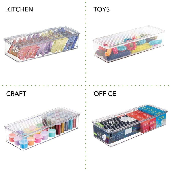Buy mdesign long plastic stackable home office supplies storage organizer box with attached hinged lid holder bin for note pads gel pens staples dry erase markers tape 8 pack clear