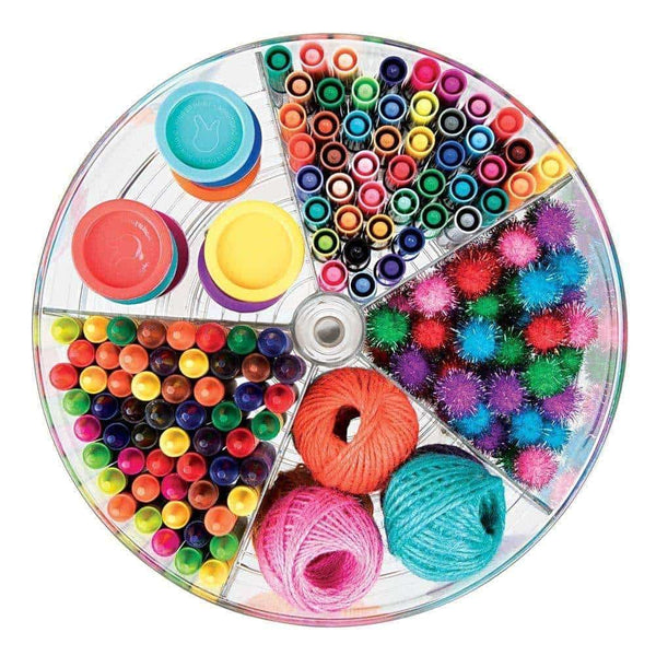 Top rated mdesign deep plastic lazy susan turntable storage container divided spinning organizer for home office supplies pens erasers tape colored pencils 4 pack clear