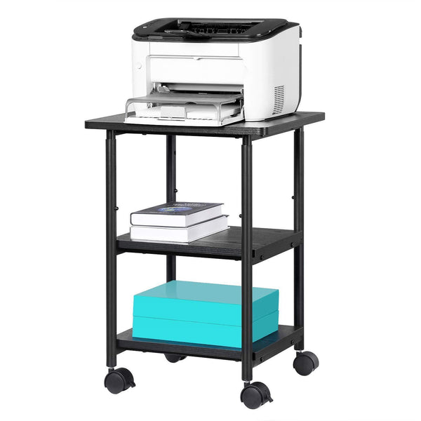 Buy songmics adjustable printer stand desk mobile machine cart with 2 shelves heavy duty storage trolley for office home black uops03b