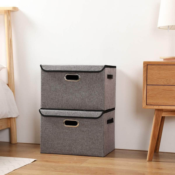Discover the large foldable storage box bin with lids2 pack no smell stackable linen fabric storage container organizers with handles for home bedroom closet nursery office gray color