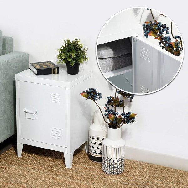 Latest houseinbox metal locker organizer side end table office file storage 2 shelves detachable 4 legs size 15 9 x 12 x 22 6 white