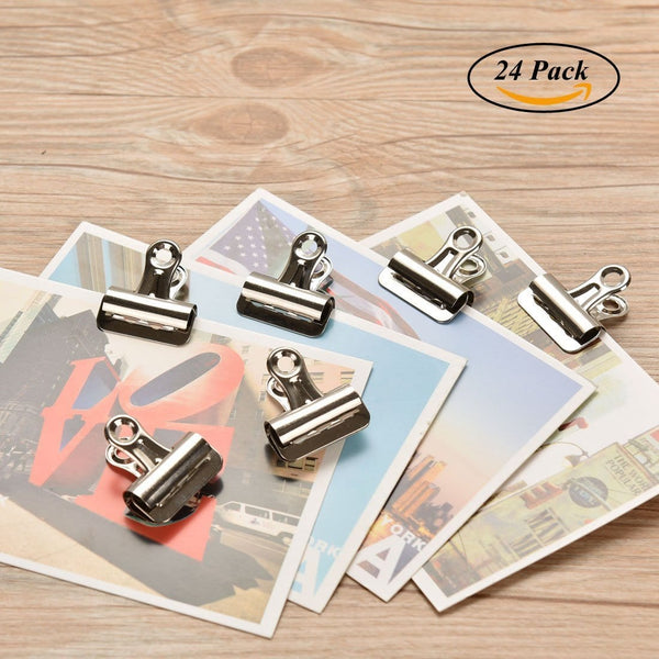 Coideal 24 Pack Small Bulldog Clips/Metal Chip Clips Clamps for Coffee, Snack, Food Bags/Silver Tone File Paper Holder for Pictures, Photos Home Office School Supplies (1 1/4 inch)