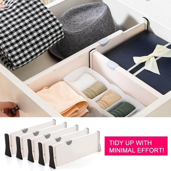 Discover the drawer dividers organizer 5 pack adjustable separators 4 high expandable from 11 17 for bedroom bathroom closet clothing office kitchen storage strong secure hold foam ends locks in place