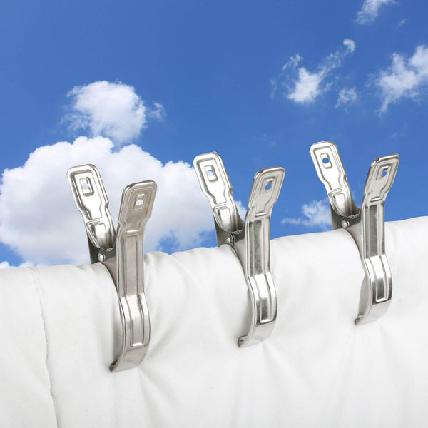 BAOEF Pool Cover Clamps,12 Packs Sturdy Large Stainless Steel Towel Clips,Clothes Quilt Pins Pegs Hanger for Beach Towel,Loungers on Cruise,Clothesline,Windproof,5.5''