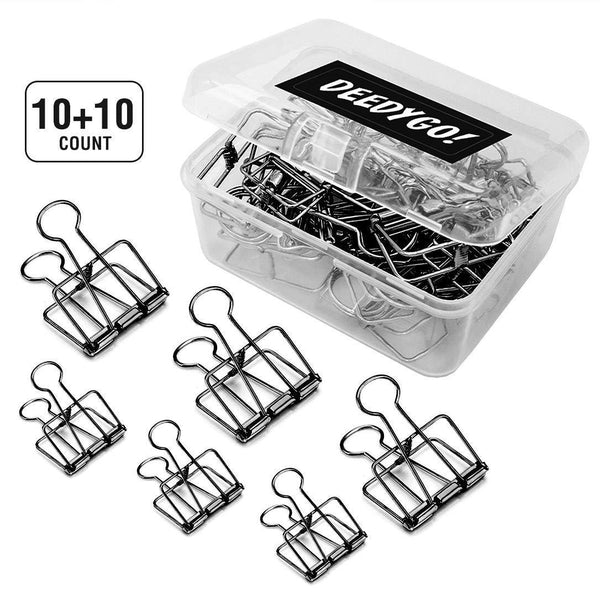 DeedyGo 20 Pcs Premium Wire Binder Clips Black, Assorted Sizes Stainless Steel Office Clips (10 Medium + 10 Small)