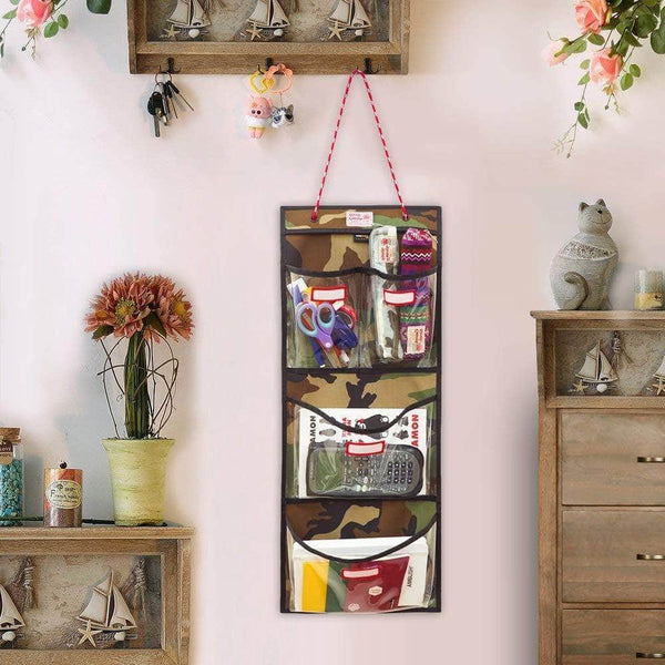 Featured rough enough door hanging organizer school locker organizer wall mount closet locker cabinet storage bag holder with durable adjustable string 4 pockets for accessories document magazine book office