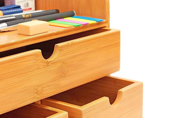 The best 100 natural bamboo wood shelf organizer for desk with drawers mini desk storage for office supplies toiletries crafts etc great for desk vanity tabletop in home or office