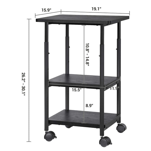 Budget friendly songmics adjustable printer stand desk mobile machine cart with 2 shelves heavy duty storage trolley for office home black uops03b
