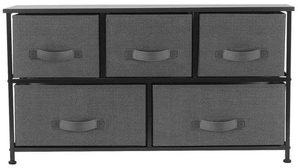 Amazon sorbus dresser with drawers furniture storage tower unit for bedroom hallway closet office organization steel frame wood top easy pull fabric bins 5 drawer black charcoal