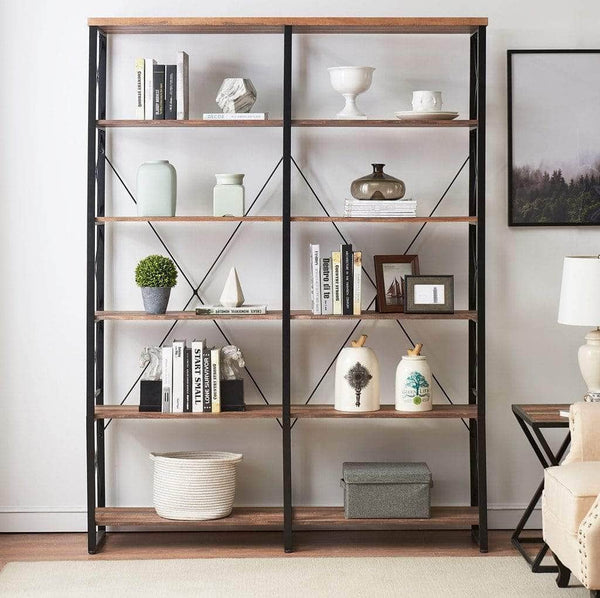 Save o k furniture 80 7 double wide 6 shelf bookcase industrial large open metal bookcases furniture etagere bookshelf for home office vintage brown