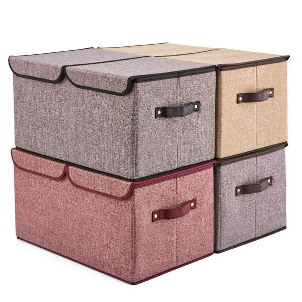 Discover the best ezoware large lidded storage boxes 4 pack linen fabric foldable cubes bin box containers with lid handles for home office nursery toys closet bedroom living room assorted color