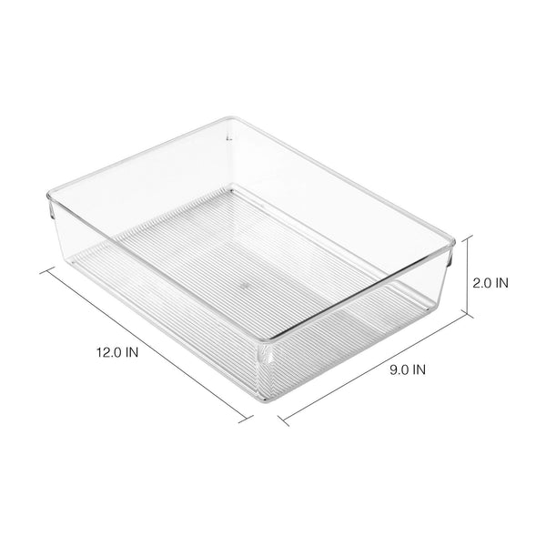 Top rated interdesign linus plastic dresser and vanity organizer storage bin for bathroom bedroom office craft room fridge freezer pantry 12 x 9 x 3 clear