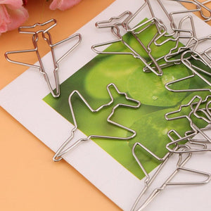 10pcs Cute Airplane Shape Paper Clips Card File Clips Clamps Bookmark Marking Document Organizing Clip Stationery Supplies