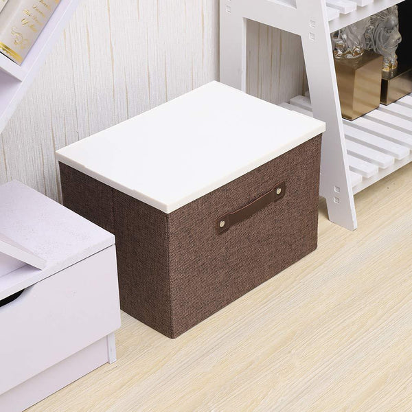 Best dmjwn foldable cloth storage tool box bin storage basket lid collapsible linen and handles organizer bins single handle for home closet office car boot brown